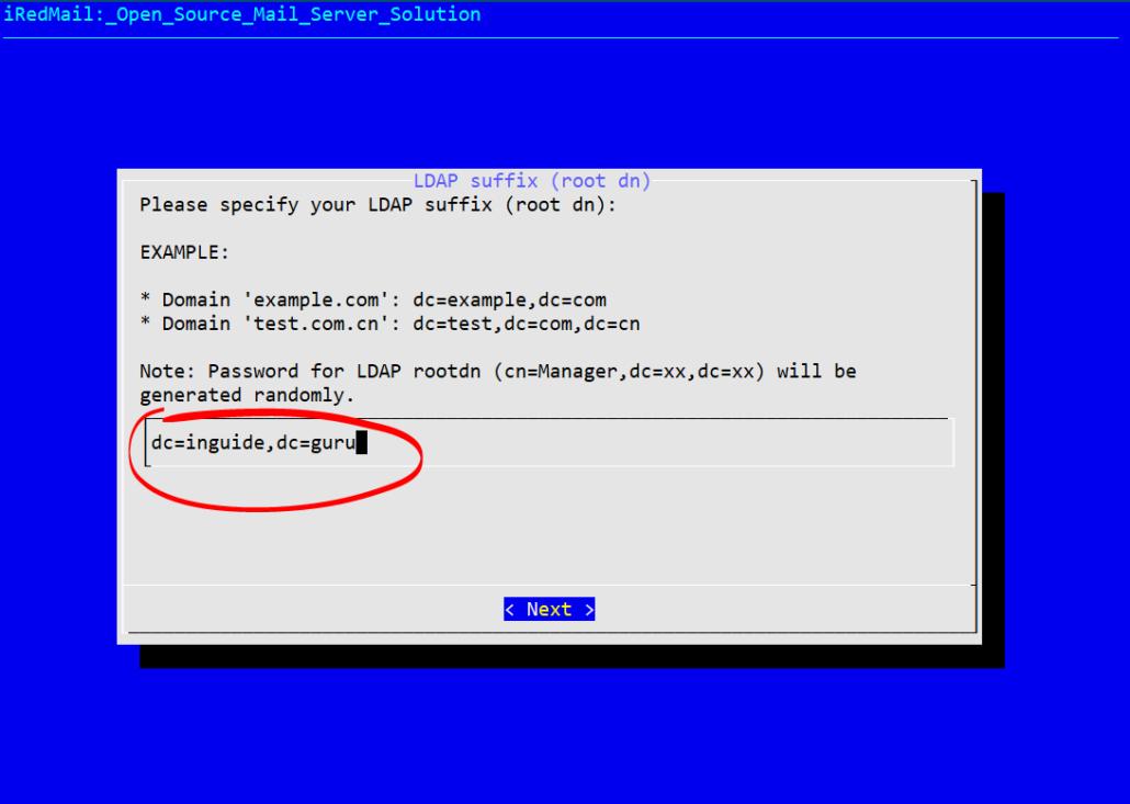 Specify LDAP suffix